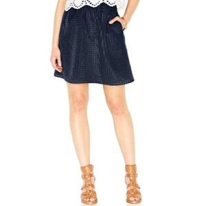Navy Bohemian Knee Length A-Line Skirt
